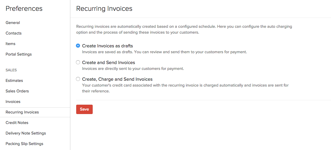 recurring invoices | user guide | zoho books, Invoice examples