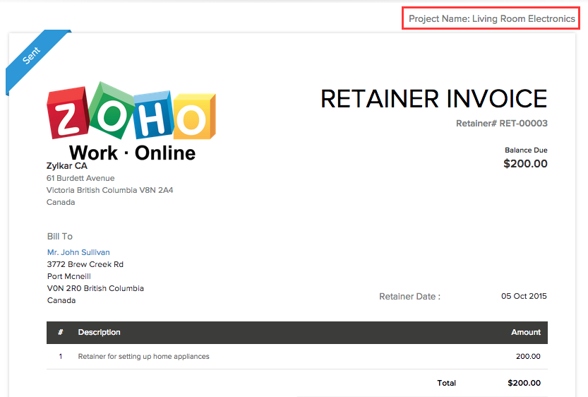 Retainer Invoice in Project