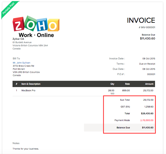 Adjustment in Invoice