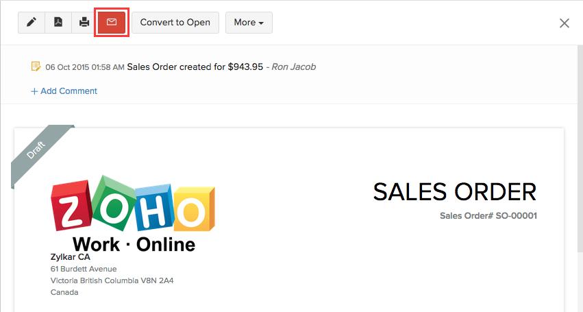 Sending a sales order