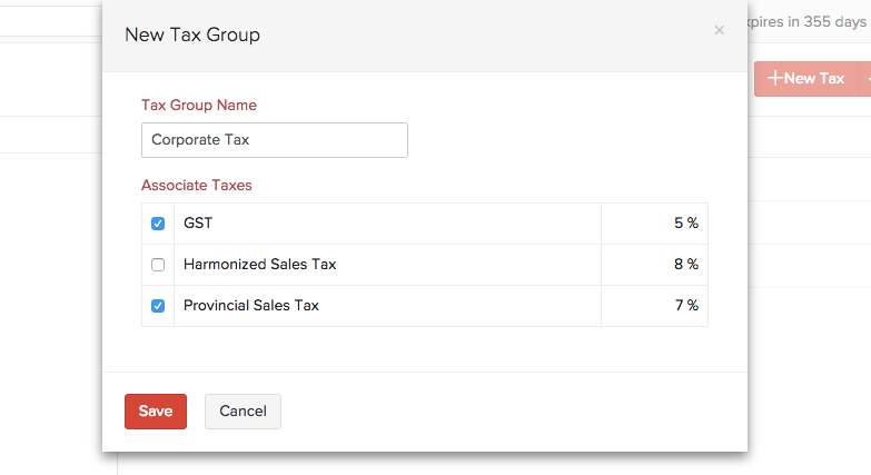 Add Tax group