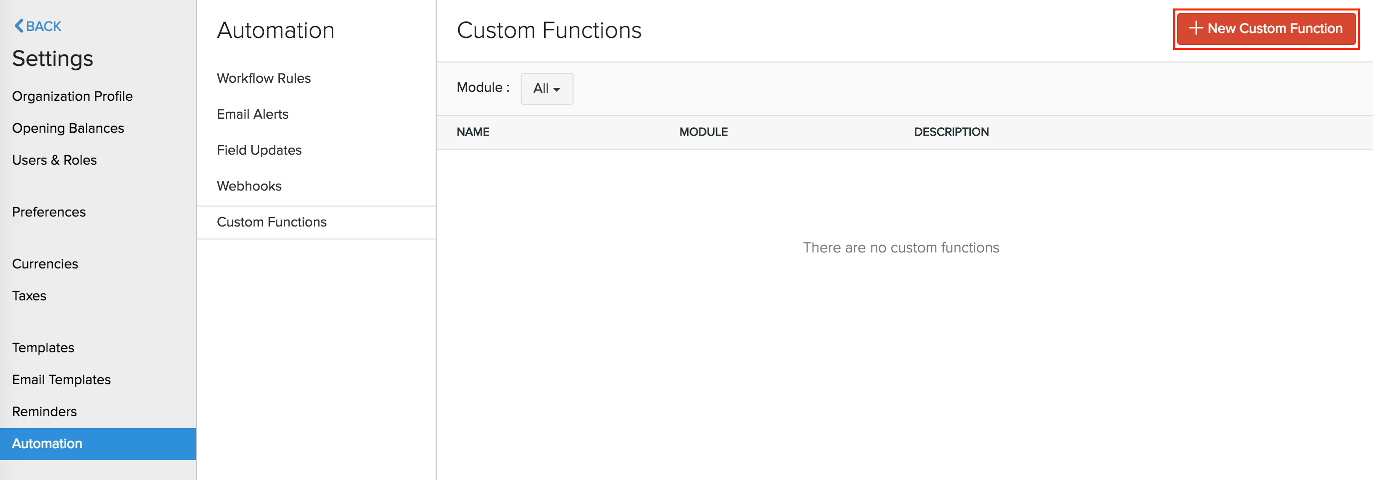 New Custom function button