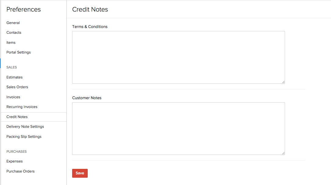 Credit Note Preferences
