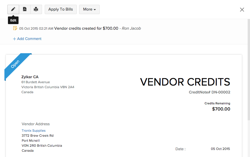 Editing a vendor credit