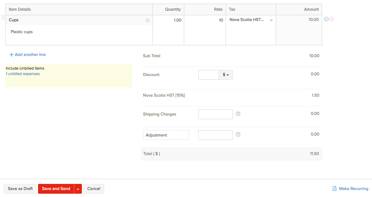 Creating New Invoice