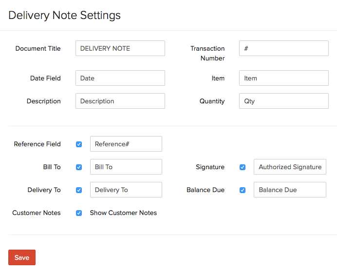 Delivery Note Settings Preferences