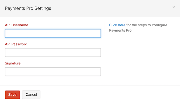 Setting up Payments Pro