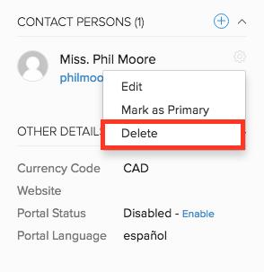 Delete - Contact Person
