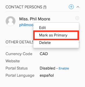 Mark as primary - Contact Person