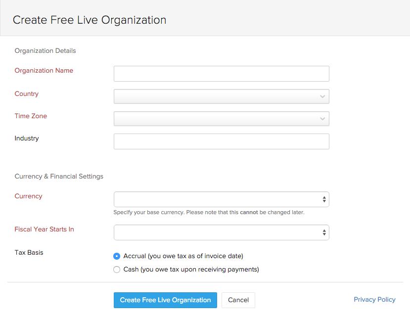 Create Live Organization