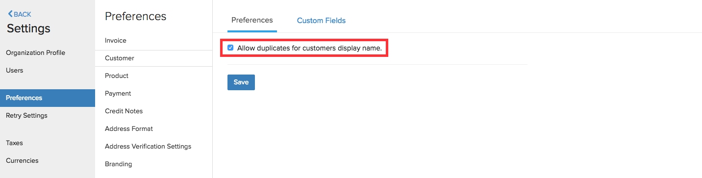Customer Preferences Duplicate names