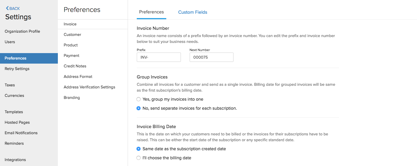 Preference Invoice Settings 1
