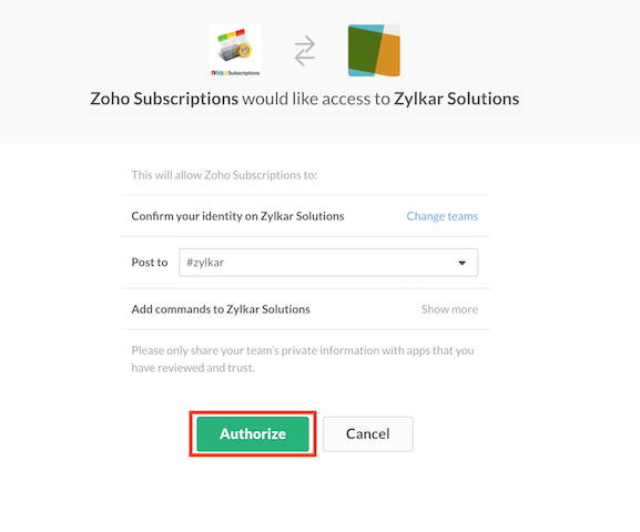 Authorize slack integration