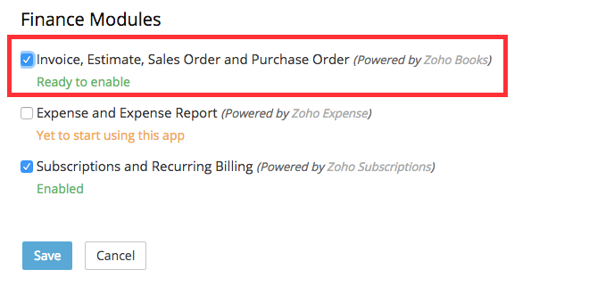 Enabling Invoice, Estimate, Sales Order and Purchase Order