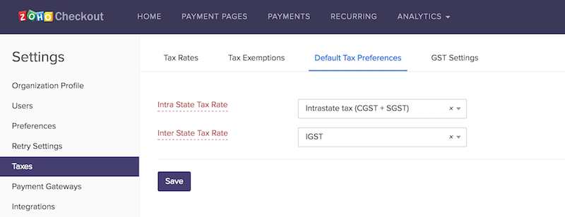 Default tax preferences