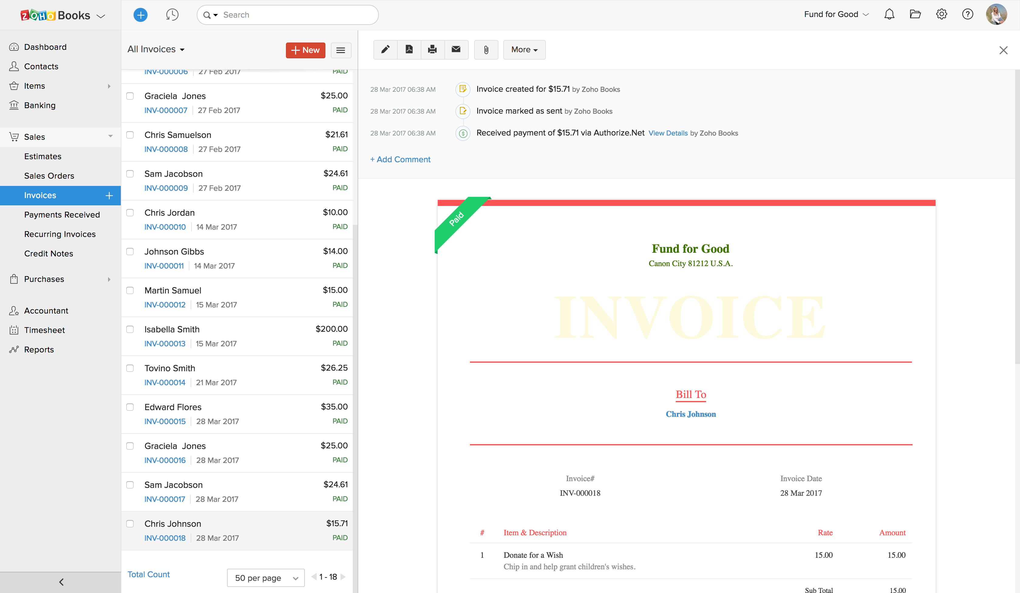 Zoho Books invoice information
