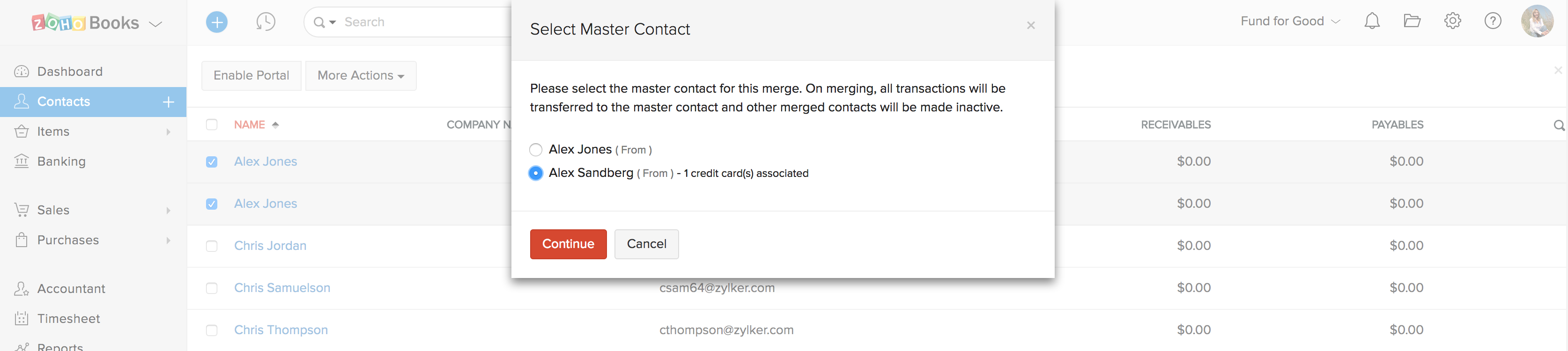 Merge Books contacts