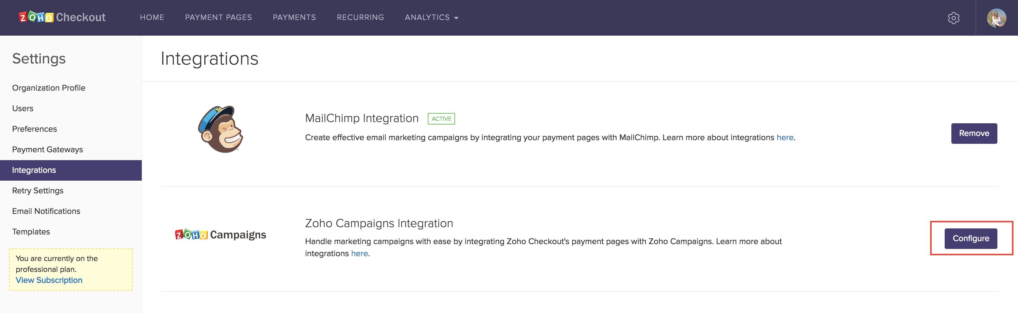 Zoho Campaigns configuration