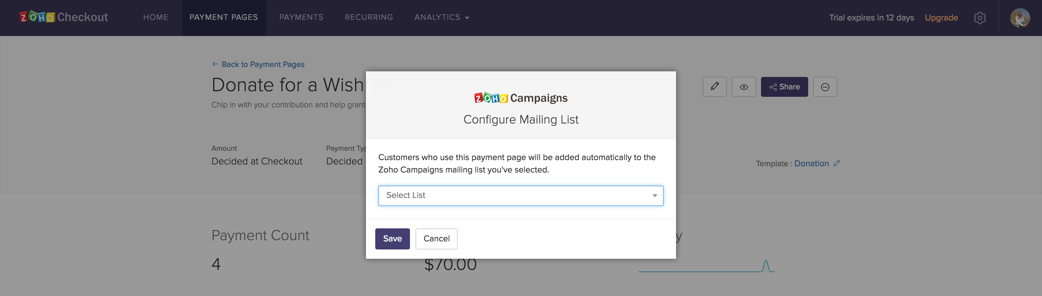Selecting the desired Campaigns mailing list