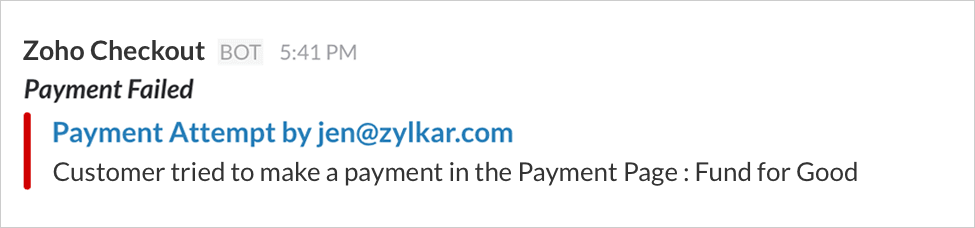 Zoho Slack notification failure