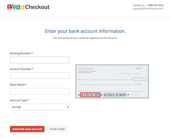 WePay bank info