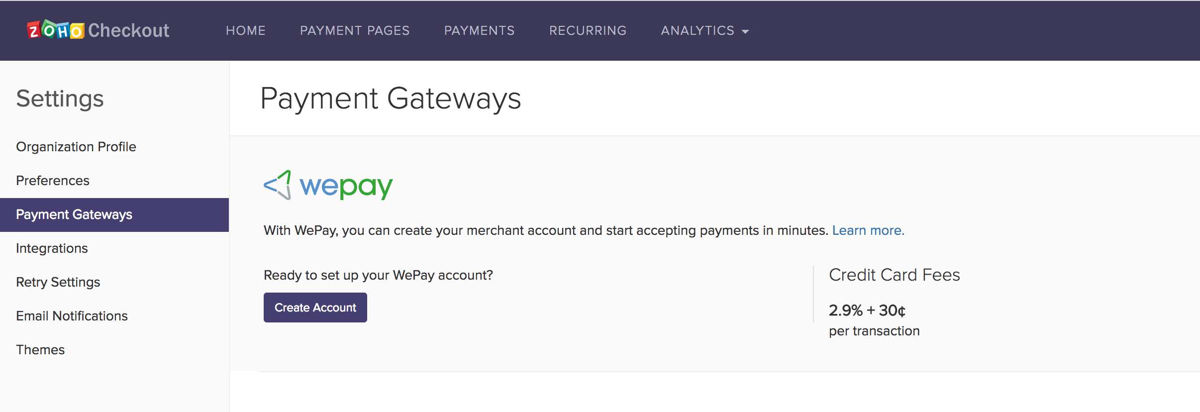 WePay configuration