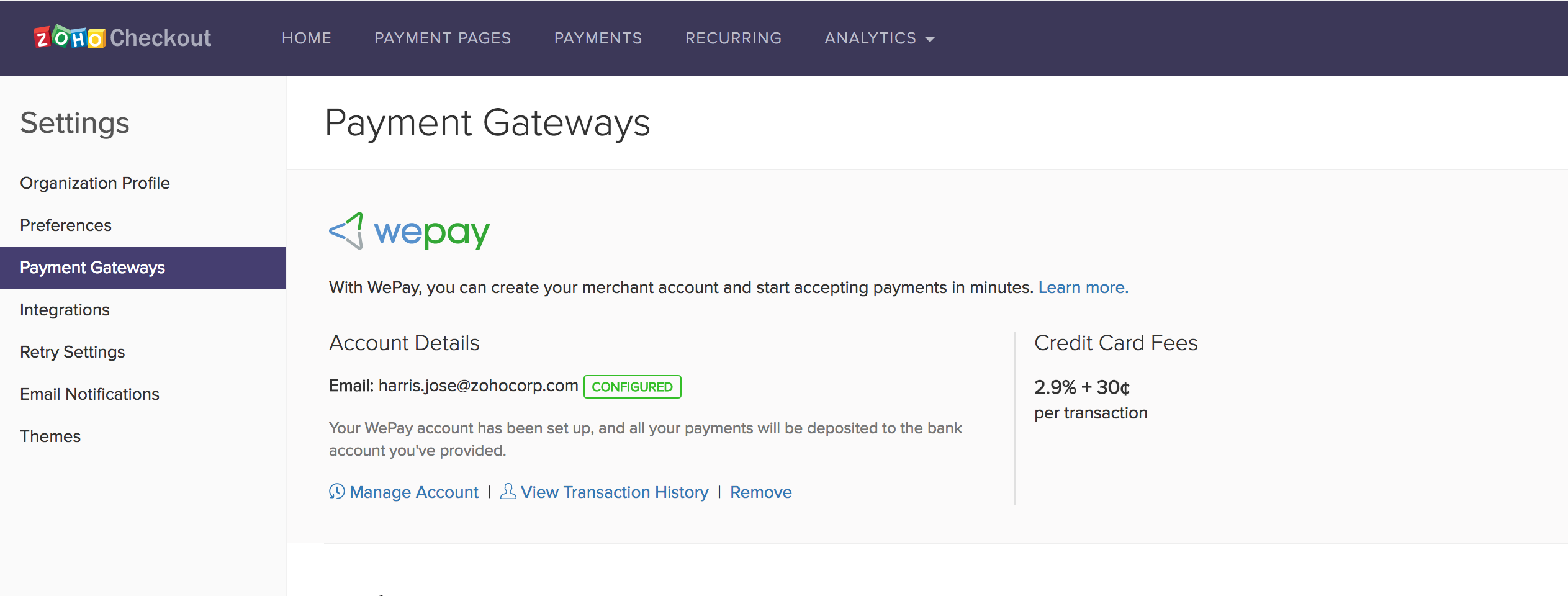 WePay manage account
