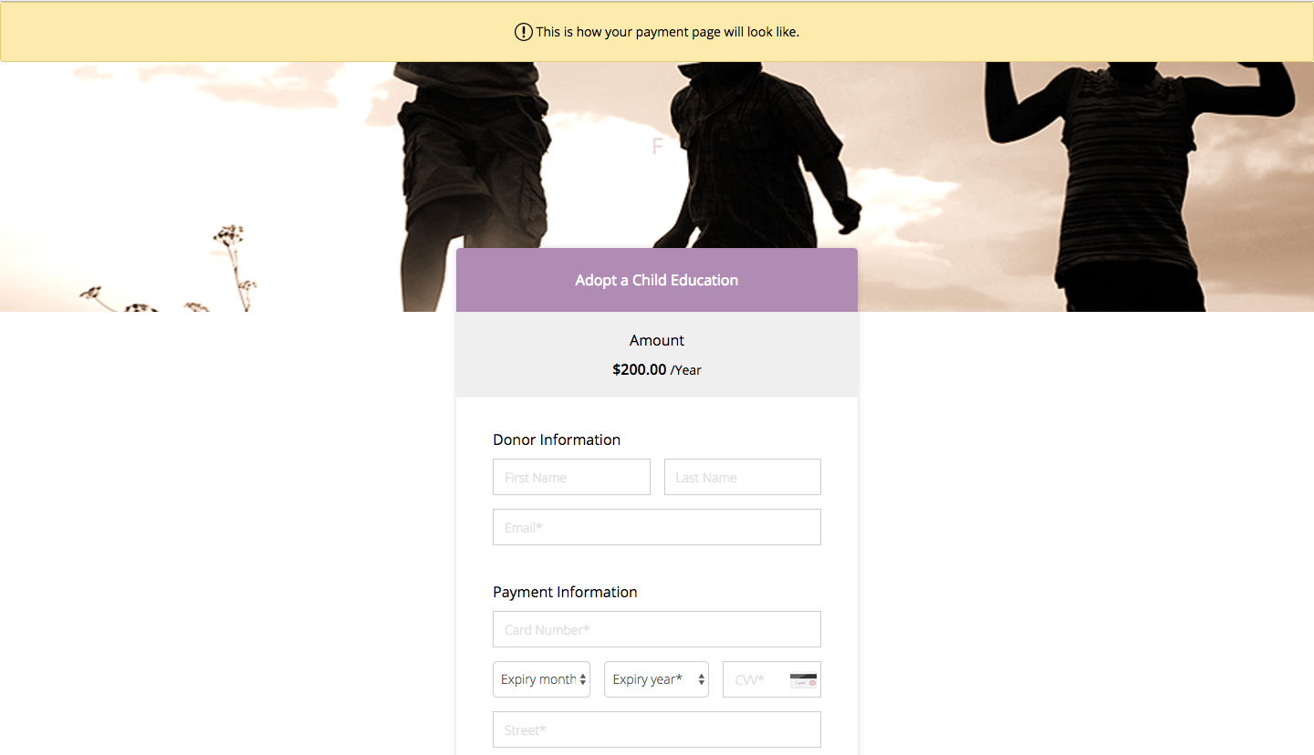 Payment page preview image