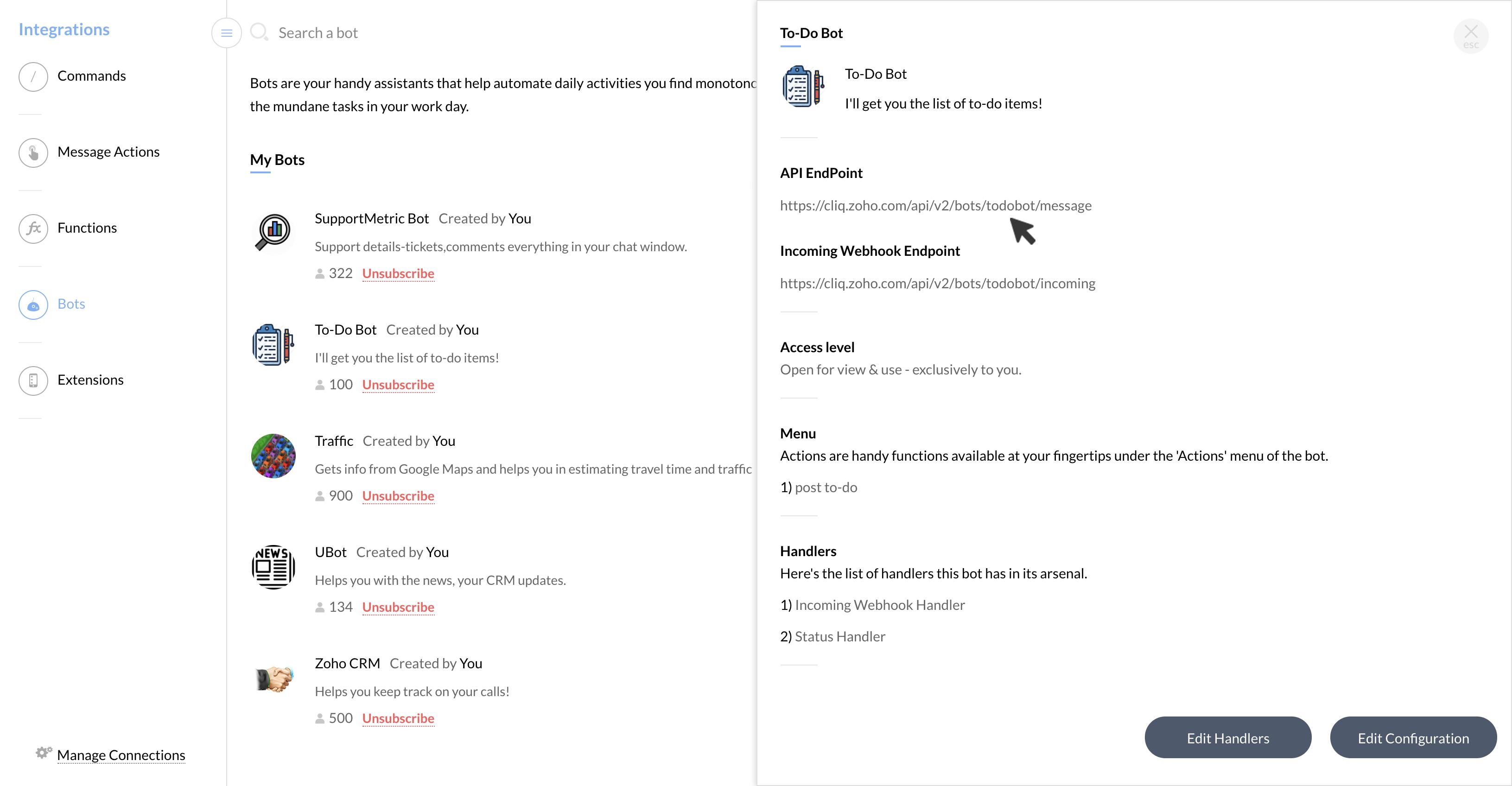 Rest API documentation | Cliq