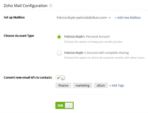 Configure personal Email