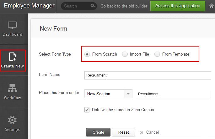 Adding a new Form | Help - Zoho Creator