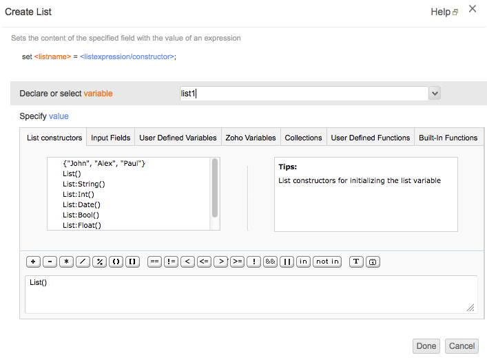 Create List Task   Help - Zoho Creator