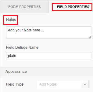 go to field properties notes
