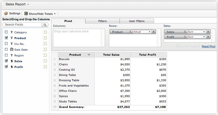 Pivot table and pivot charts for Table design grid access