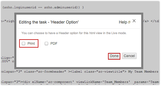 Now When You Access The Application And Select HTML Page Print Option Will Be Displayed In