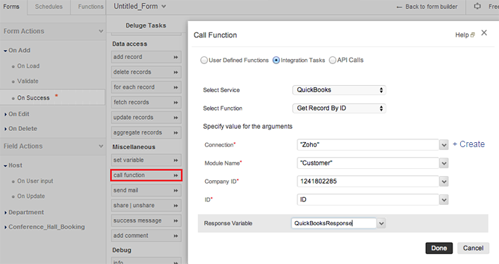 The Response Variable Will Contain The Response Returned By Quickbooks In  List Format.