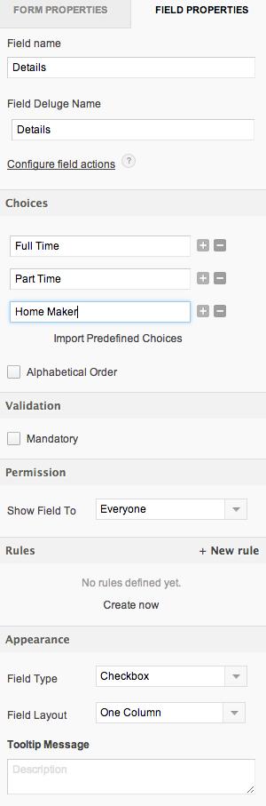 Configuring a multi select field | Help - Zoho Creator