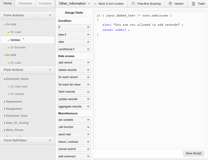 Using Script Builder   Help - Zoho Creator