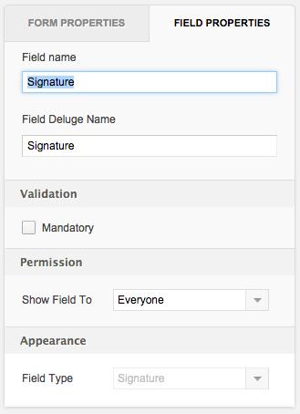 Configuring a Signature field | Help - Zoho Creator