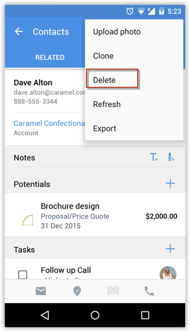 Delete Records using Android