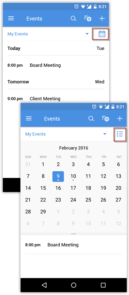 View Events in Month View using Android
