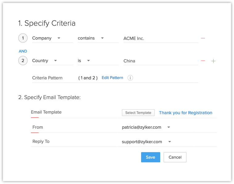 Autoresponse Rule for Web Form | Online Help - Zoho CRM