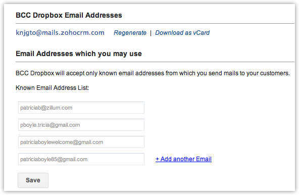 Bcc Dropbox| Online Help - Zoho CRM