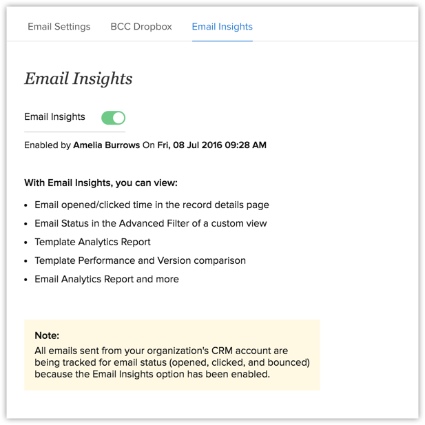 Email insights online help zoho crm in the email insights page turn the email insights feature on pronofoot35fo Images