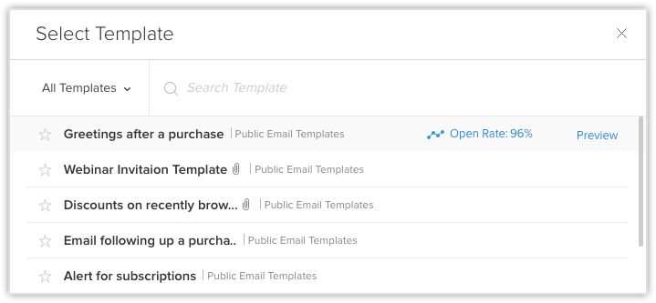 Email templates online help zoho crm you can view a list of all the available email templates before sending them in all the ten features if you want you can also mark a template as favorite m4hsunfo