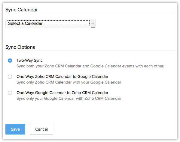 synchronizing with google calendar online help zoho crm