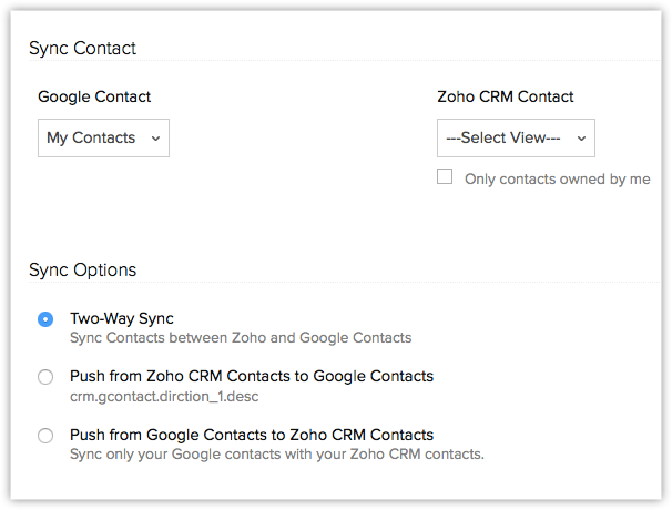 Synchronizing Google Apps Contacts | Online Help - Zoho CRM