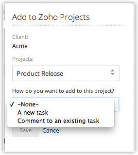 help zoho projects activate integration
