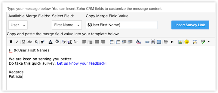 Working with zoho survey online help zoho crm for Customer survey email template