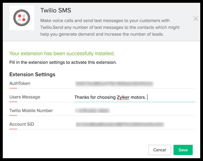 Twilio Extension | Online Help - Zoho CRM